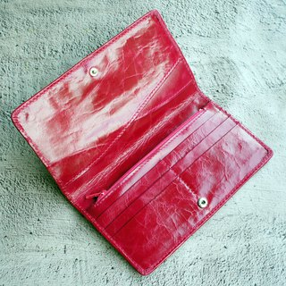 Wax Sense Antique Leather Long Clip - 海棠Red 6 Card Simple Wallet Wallet Phone Bag