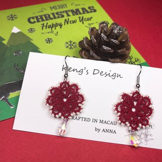 tatted lace crystal earrings (red) / Valentine's Day / Swarovski crystal