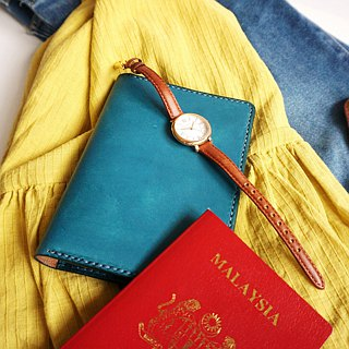 Blue Leather Passport Cover/ Sleeve with Credit Card & boarding pass pocket