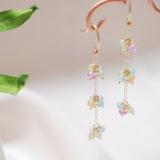 Swanlace illusion candy color natural stone handmade 14kgf gold earrings / ear clip