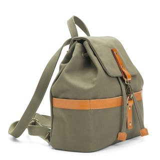 Bucket backpack with drawstring top in water resistant canvas and leather Green