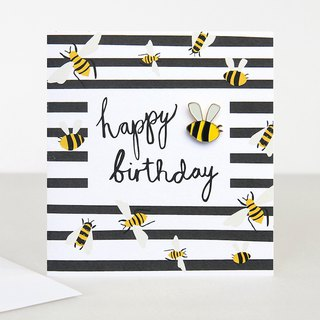 【caroline gardner】Bee Pin Badge Happy Birthday Card BOH005