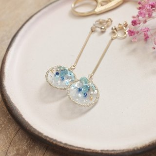 【Embroidery embroidery series】 01 drip / double / blue embroidery earrings