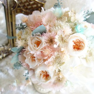 Wedding Floral Series ~ Not Withering Roses and Peony Bouquet (Peach Powder * Mint Green)