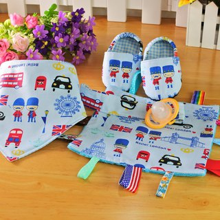 British soldier Mi Yue gift box three sets of baby shoes + saliva towel (bibs pocket) + pacifier chain clip appease towel