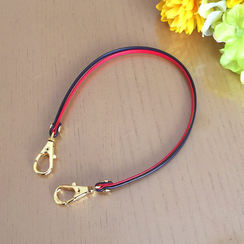 Two-tone color Leather strap ( Red and Navy ) - Clasps : Gold