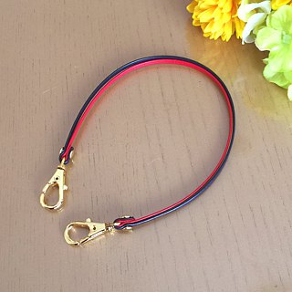 "Two-tone color Leather strap ( Red and Navy ) ""Clasps : Gold"""