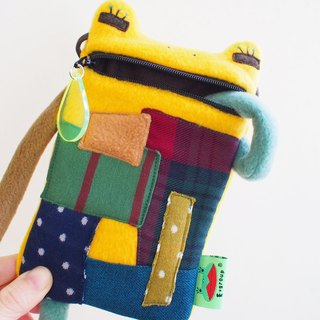 E * group A frog saliva Patchwork bag (yellow) iphone6 ​​+. I7 + cell phone pocket