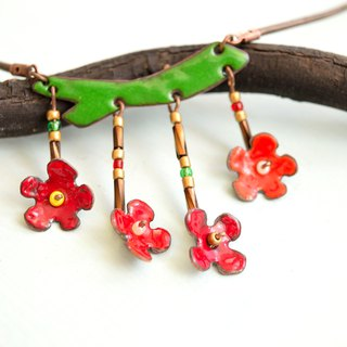 Japanese Quince Flower, Enamel Necklace, Flower, Blossom Jewelry, Quince Blossom