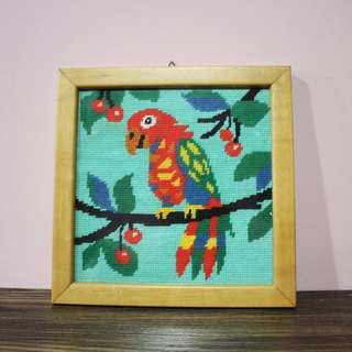Fairy Farm Factory (Italy Brings Back) European Antique Hand Knit Red Parrot Wood Frame Square Hanger