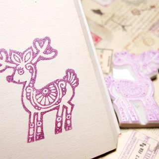 Apu handmade rubber stamp ornate deer seal