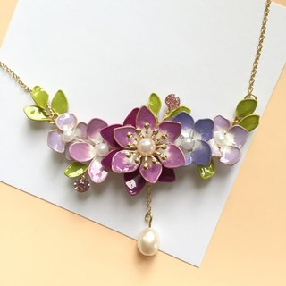 Aramore purple line copper flower hanging fresh water pearl necklace ﹝ single production ﹞