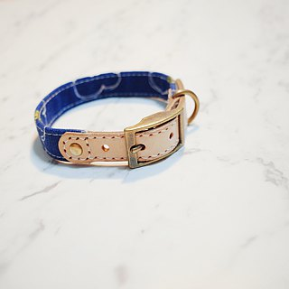 Dog Collars, M size, Blue daisy pattern_DCJ090455