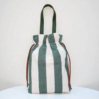 Retro Vintage Blue Velvet Leather Handmade Canvas Backpack - Green and White Stripes