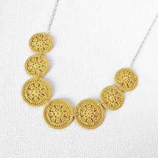 Lace motif necklace 7 rows (yellow) P0019
