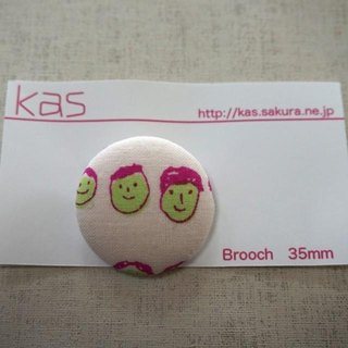 "Hand printed original covered button brooch""friends"""