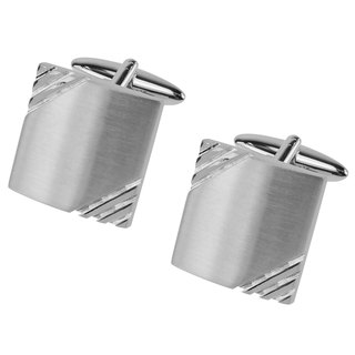 Brushed Silver Grooves Cufflinks