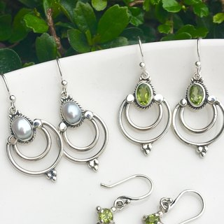 ♦ My.Crystal ♦ ♦ Dance Night Elf vs. pearl peridot sterling silver ear hook
