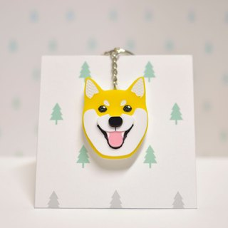 Shiba Inu (Yellow) - Firewood - Key Chain - Pet Accessories - Pet Charm - Hairy Kids - Gifts - Custom - Acrylic - BU