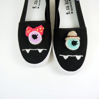 Black cotton hand made canvas shoes eyeball Mr. Miss section no woven section