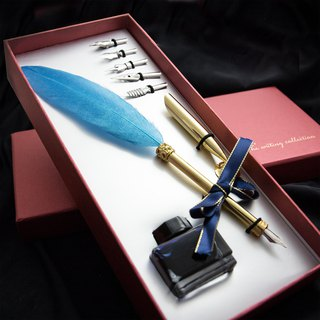 MISTER European retro feather pen dip water pen gift box gold powder lake water blue