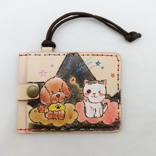Three-layer leather card holder certificate set best partner - dog Wang Xingren & cat star