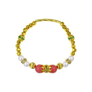 Fancy Crystal Natural Stone Brass Bracelet
