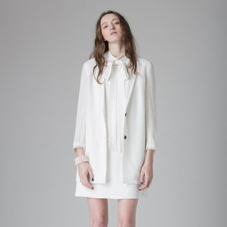 White yarn grid subnet suit jacket - Hong Kong Design Brand Lapeewee