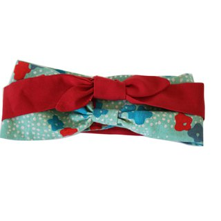 Deer Lita original design hair with mint green flowers color matching multi-function cotton and linen Japanese headband