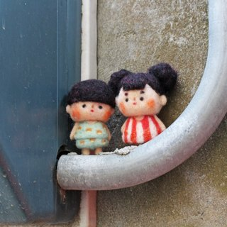 Anny's. Wool felt popcorn girl & Mushroom boy (showcase)