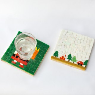 Picnic/Handmade Mosaic Decorative Painting/ Wood coasters