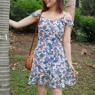 Veronica Floral Printed off shoulder dress