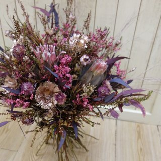 Wedding Floral Series ~ Dry Deep Pink Continental Hand Bouquet