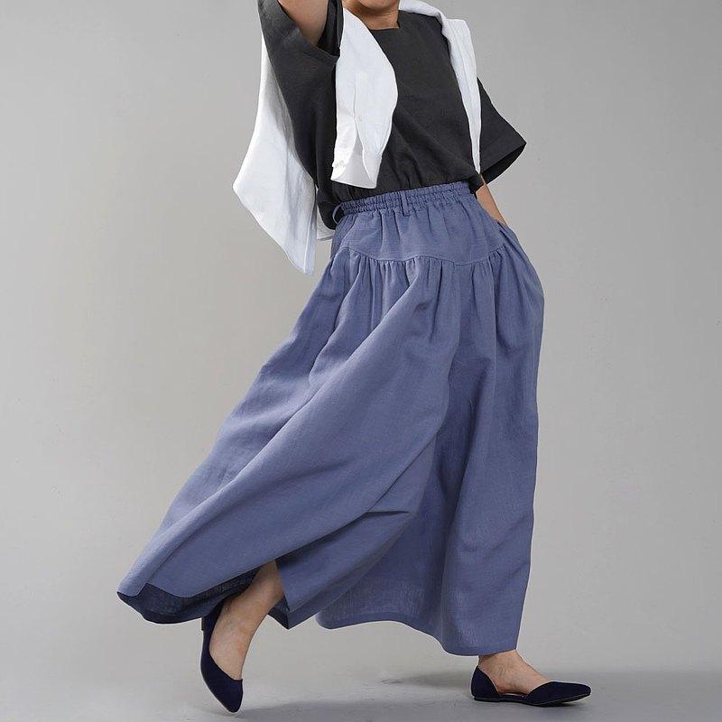 wafu-略顯瘦的亞麻搖曳裙褲褲子聚集軛長褲亞麻寬褲子40th計數/紫羅蘭色紫羅蘭色B003A-SMR1