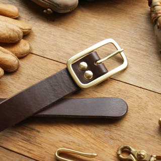 weekenlife - Narrow Type Leather Belt ( Custom Name ) - Dark Coffee