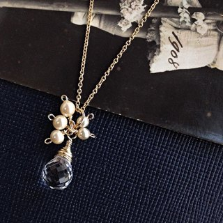 14kgf Jewelry Crystal AAA Vintage Pearl Drop Necklace