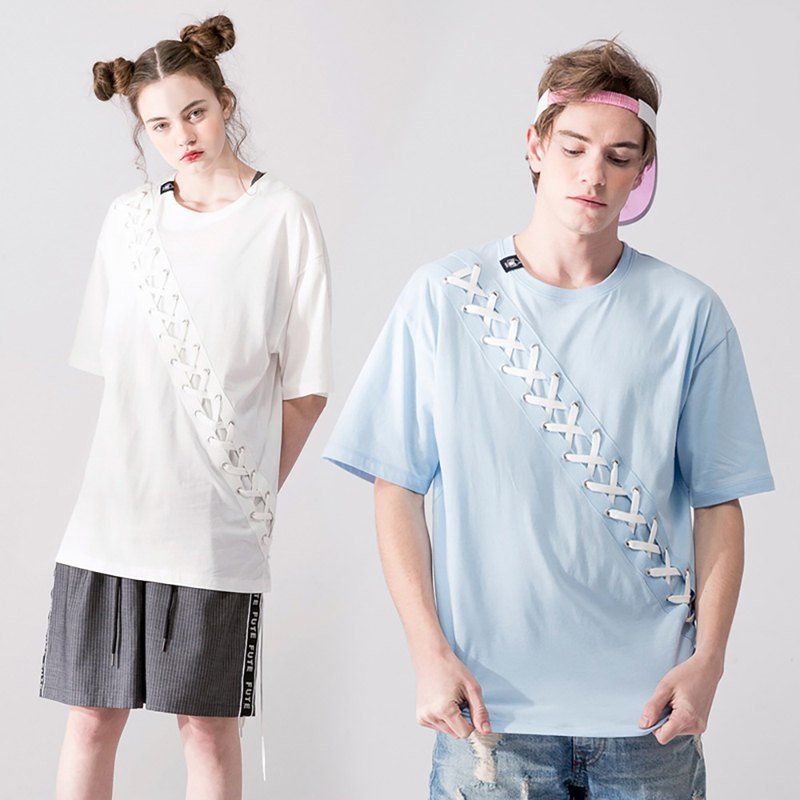 UNISEX LACE UP T SHIRT / Light Blue+ Creamy White