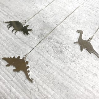 Silver dinosaur silhouette long chain earrings single. Optional. 925 sterling silver. sterling silver
