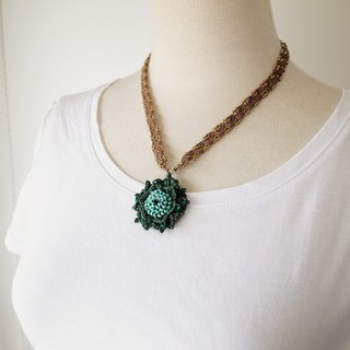 Irish Crochet Lace Jewelry (Camellia 4-c), Lace Necklace,Fiber Art Necklace, Crochet Necklace