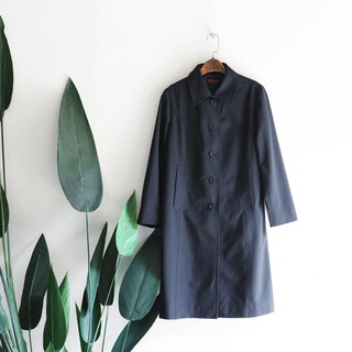 Toyama calm black and blue classic large pocket antique thin windbreaker jacket trench_coat dustcoat