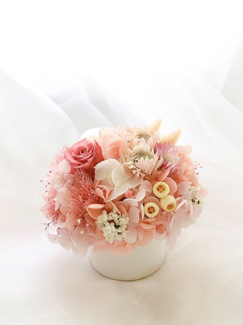 永生花 永生玫瑰  療癒小盆栽 乾燥花盆栽 粉色 婚禮小物 交換禮