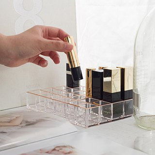 Acrylic Rose Gold Desktop Makeup Organizer (24 Lipsticks)