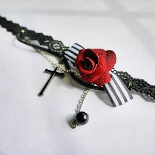 Goth Red Rose Cross Necklace【Panna Cotta】