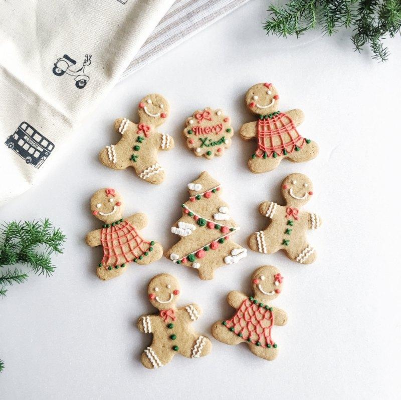 Warm Sun Christmas Exchange Gifts Preferred Christmas Fun Gingerbread Man Pure Hand Drawn Creative Design Icing Sugar Cookies 8 Tablets 12 20