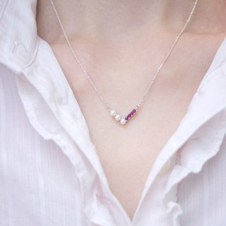 V series light jewelry natural pearl red treasure necklace hand made 925 sterling silver Pearl Ruby