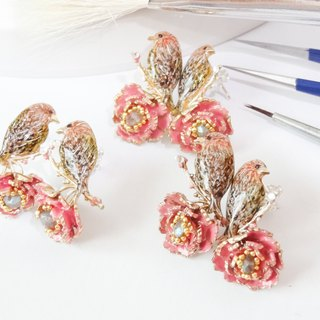珐琅 series 珐琅 peony branch bird earrings pre-order