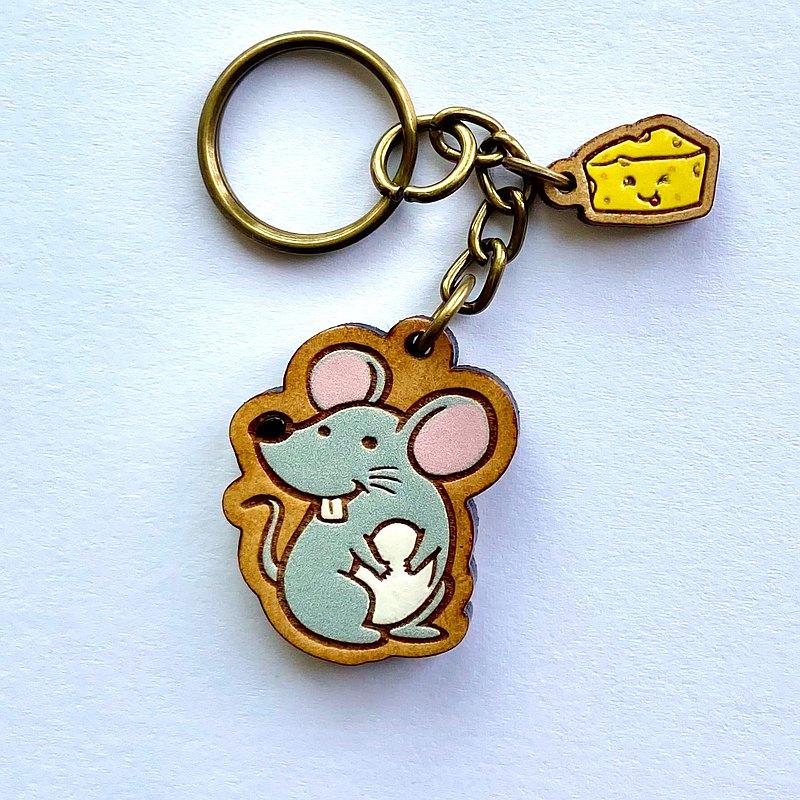 彩繪木製鑰匙圈-起司鼠