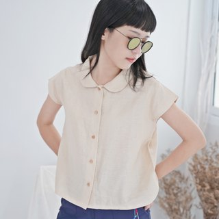 Beige Peter Pan Collar Shirt