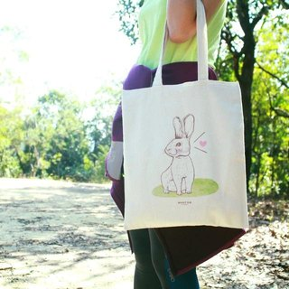 [Animal series # 3 curious bunnies canvas bag