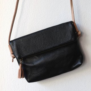Black Cross Body Leather Bag / Folding Leather Clutch Purse